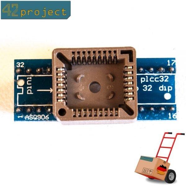 QFJ32 / PLCC32 zu DIL / DIP32 1:1 Programmieradapter 32 Pin SMD Breadboard komp.