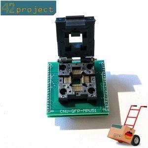 IC-Sockel Programmier-Adapter SMD TQFP44 QFP44 LQFP44 0,8mm auf DIP 2,54mm Pin