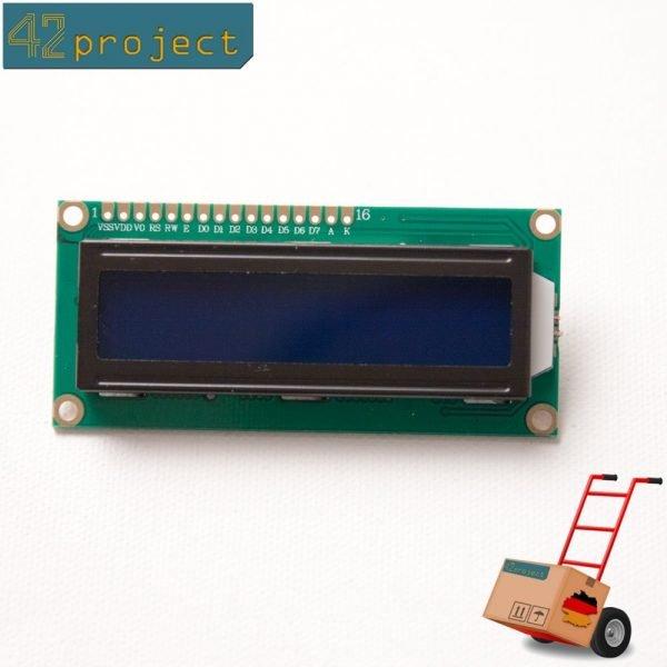 LCD Display HD44780 1602 Zeichen 16x2 Modul Blau für Arduino, Pi, AVR, STM32