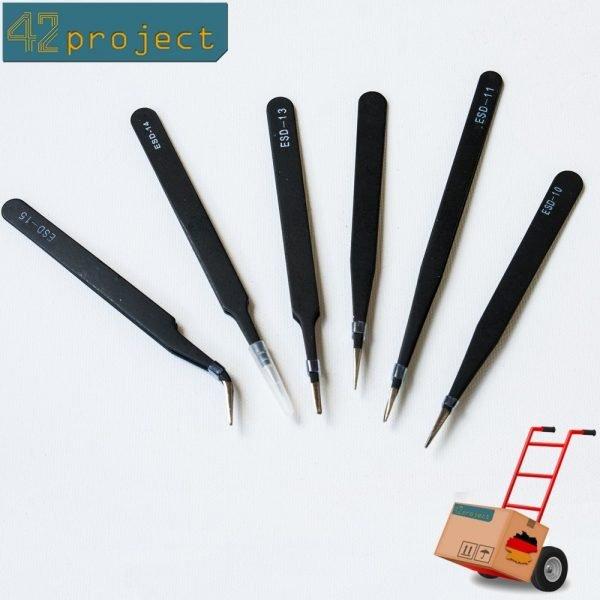 Pinzetten Set für Elektronik Antistatik ESD 6 Antistatische Pinzette Edelstahl