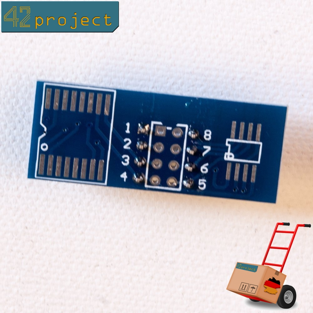 SOIC8/SOP8 (150 bis 200 mil) zu DIL8/DIP8 Breadboard kompat SMD Breakout Board