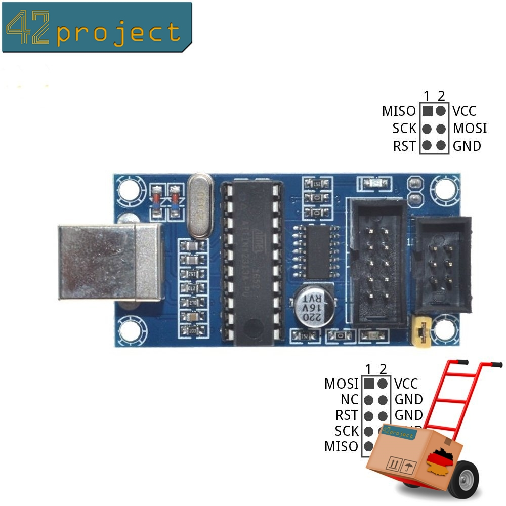 42project Elektronik Mikrocontroller Und Zubehr Kaufen Atmel Avr Usb Programmer Using Atmega8 Tiny Isp Mit Kable 6 10pin Fr Atmega Arduino Programmierer